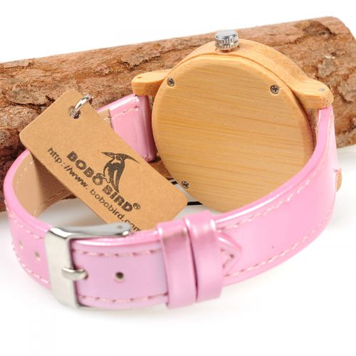 montre en bois pour femme rose