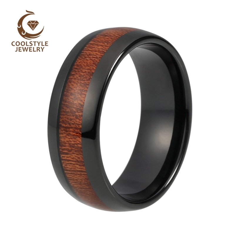 8mm-Black-Domed-Tungsten-Carbide-Ring-Natual-Real-Koa-Wood-Inlay-Comfort-Fit-Wedding-Band-Size-2.jpg