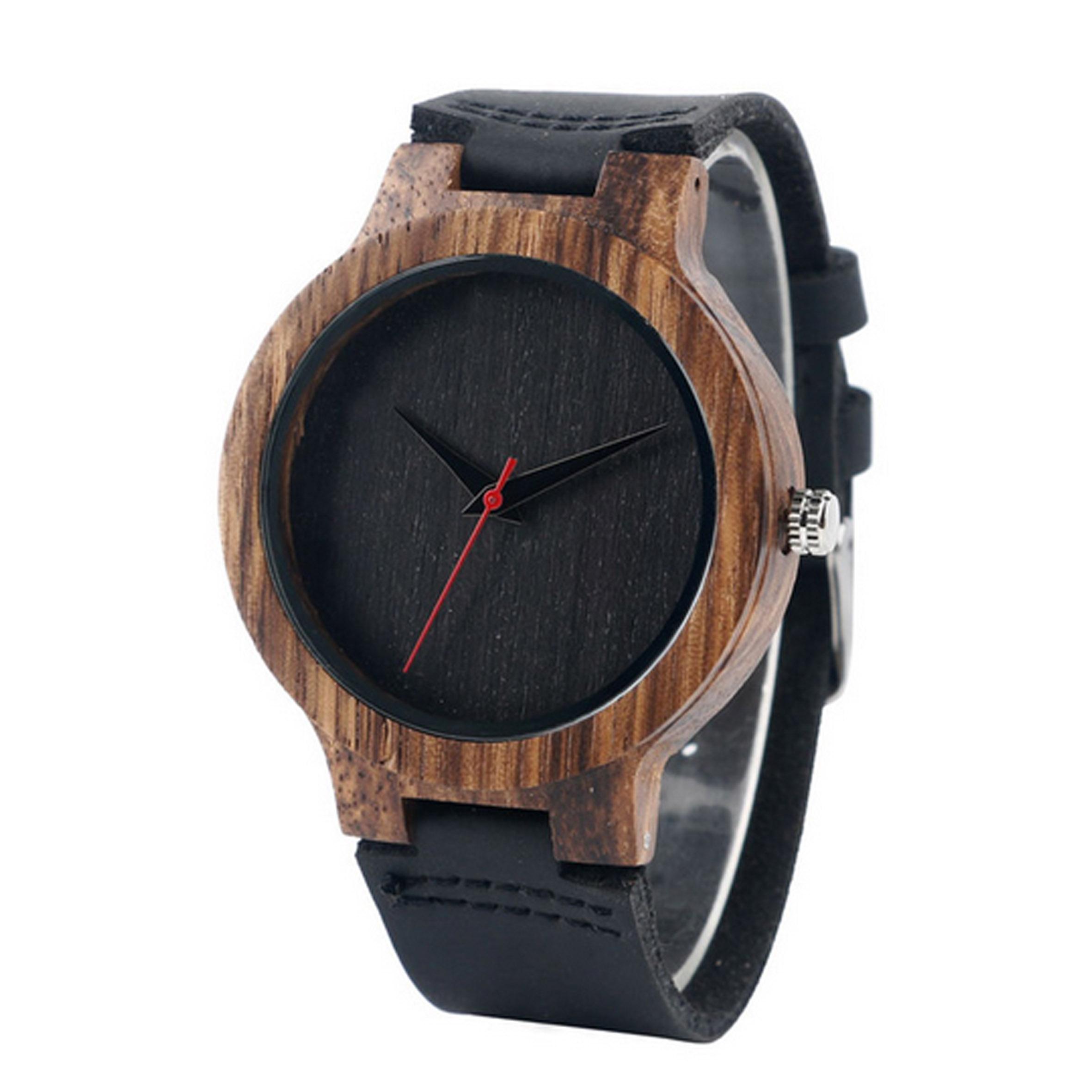 montre en bois homme bracelet cuir