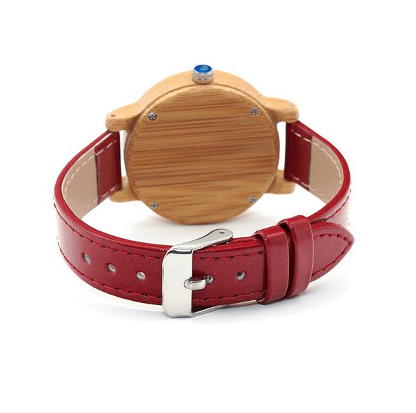 montre bois rouge femme