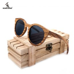 lunettes de soleil en bois rondes