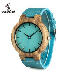 montre en bois bleu