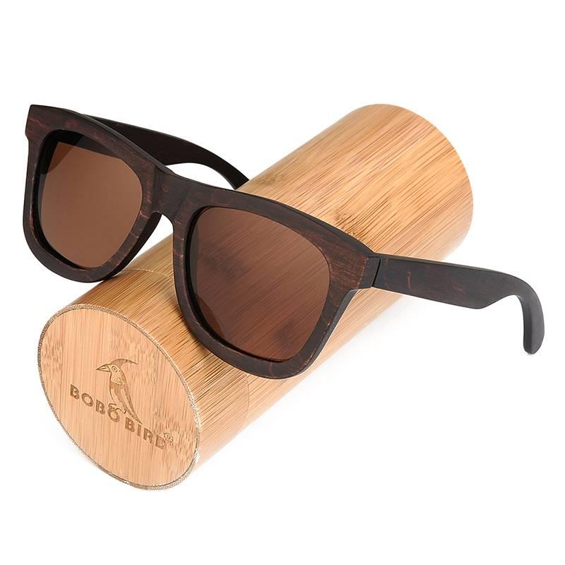 Lunettes de soleil en bois carré pour homme Livraison Offerte