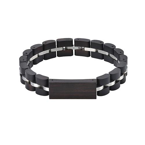 Bracelet en bois et acier inoxydable