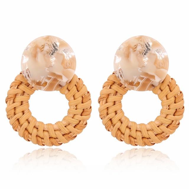Boucles d'oreilles bambou tressé